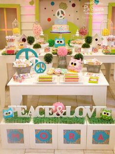 Peace, love and owls birthday party! See more party planning ideas at CatchMyParty.com!