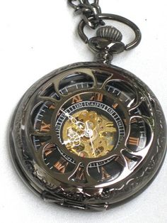 Steampunk - VINTAGE FLOWER Pocket Watch - Mechanical- Jet Black - Necklace - Jet Black - Neo Victorian - GlazedBlackCherry -Pre Sale- For etst. $44.99