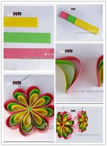 Handmade DIY Simple Flower Ornament: apply the same technique that paper quilling employs and these paper flowers will come together easily. Looks great with coordinating double sided paper simple paper flower - would make with fondant for a cake pretty Simple Flowers, Diy Flowers, Fabric Flowers, Paper Flowers, Flower Petals, Pretty Flowers, Flower Diy, Arte Quilling, Quilling Paper Craft