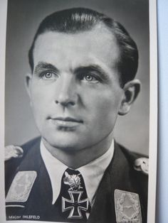 Oberst Herbert Ihlefeld (1 June 1914 – 8 August 1995) credited with 132 enemy aircraft shot down in over 1,000 combat missions. Knight's Cross on 13 September 1940 as Oberleutnant and pilot in the I./Jagdgeschwader 77; 16th Oak Leaves on 27 June 1941 as Hauptmann and Gruppenkommandeur of the I./Jagdgeschwader 77; 9th Swords on 24 April 1942 as Hauptmann and Gruppenkommandeur of the I./Jagdgeschwader 77