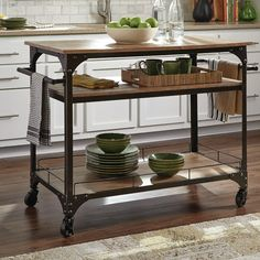Donny Osmond Kitchen Cart with Wood Top & Reviews | Wayfair