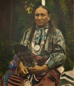 Rare colorized photo of the Osage Indian called Little Eagle, taken in 1928.