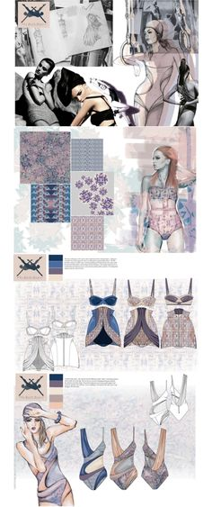 Fashion Portfolio - patterned swimwear design with a vintage inspired silhouette - research & fashion design drawings; fashion sketchbook // Helen Sales Illustration done with watercolours and love how it shows the process Mode Portfolio Layout, Fashion Portfolio Layout, Fashion Design Sketchbook, Fashion Design Portfolio, Fashion Design Drawings, Fashion Sketches, Portfolio Book, Drawing Fashion, Sketchbook Layout