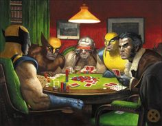 Wolverines playing poker
