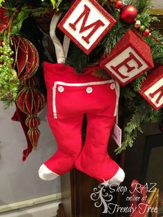 Santa Pants from the RAZ 2015 Night Before Christmas Collection.  Add them to your Trendy Tree Wish List today! Arriving Summer 2015