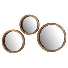 A beautiful addition to your bedroom or bathroom, these round mirrors feature naturally finished rims. For a romantically rustic look, mount on white walls alongside a vintage dresser and subtle floral accents Product: Small, medium and large mirrorConstruction Material: Wood and mirrored glassColour: BrownDimensions: Small: 35 cm H x 25 cm Diameter Medium: 35 cm H x 30 cm Diameter Large: 35 cm H x 35 cm Diameter