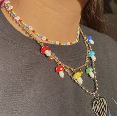 Funky Jewelry, Hippie Jewelry, Cute Jewelry, Beaded Jewelry, Jewelry Accessories, Beaded Necklace, 90s Jewelry, Beaded Rings, Mode Hippie