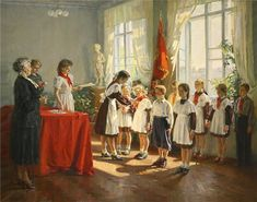 """Приём в пионеры / Admission To The Pioneers"". Ivan Antonovich Quiet (1927, Ukrainian)"