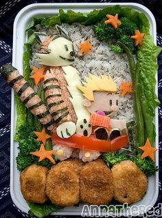 bento - wow. my kids would freak out if i mangaged to pull that one off... i don't have that kind of time in the morning... or...ummm...ever?