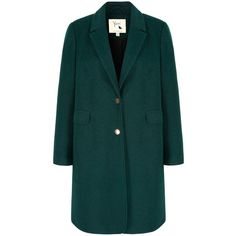 Yumi Long Boyfriend Coat (4.285 RUB) ❤ liked on Polyvore featuring outerwear, coats, clearance, green, lapel coat, slim coat, long green coat, boyfriend coat and long coat