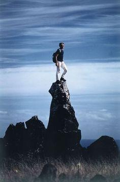 """Easter Island, Chile"" 1969, self-timer photo by Italian climber, explorer, photojournalist WALTER BONATTI (1930/2011)"