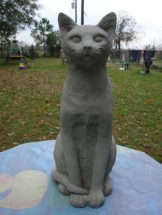 Etonnant Domestic Cat Siamese Kitten Gray Cement Concrete Garden Statue Monument  Memorial | EBay Cement Garden,