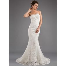 avail in ivory z7 champagne  [US$ 196.99] Mermaid Strapless Sweep Train Satin Tulle Wedding Dress With Lace Beadwork (002035873)