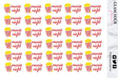 New designs, Movie night stickers for planners!