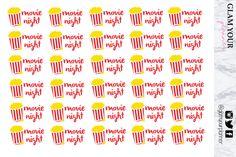 Movie Night Planner Stickers - 30 Popcorn Stickers #movienightstickers #moviestickers #movies #popcorn #popcornstickers #planners #stickers #plannerstickers