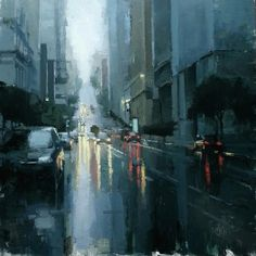 James Kroner - San Francisco, CA artist. One could step into the painting onto the street! Illustrations, Illustration Art, Montserrat, Principles Of Art, Landscape Drawings, Landscapes, City Art, Urban Landscape, Contemporary Paintings