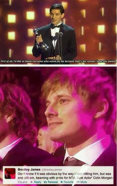 I SEE TEARS PEOPLE! Colin Morgan and Bradley James