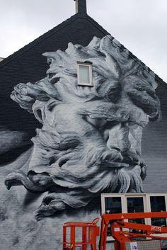 """Street Art Paintings - veryprivateart: """"Street art by Zenk Onethe Mural Goes Festival 2015 """" Street. Grafitti Street, 3d Street Art, Street Artists, Stencil Street Art, 3d Street Painting, Graffiti Murals, Mural Art, Graffiti Bridge, Installation Street Art"""