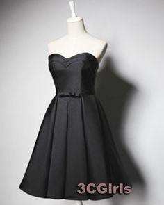 Mother of the bride dress, black chiffon senior prom dress, 2016 handmade strapless A-line black party dress   http://www.3cgirls.com/#!product/prd1/4220055991/sexy-strapless-handmade-a-line-black-dress%2C-gowns