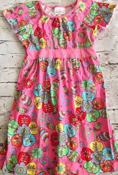 Hanna Andersson Dress Size 120 Girl's US 6-7 Multi Color Pink Floral 100% Cotton #HannaAndersson #Girls #Floral #Dress