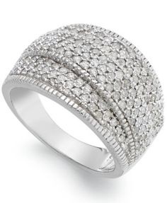 Wrapped in Love™ Diamond (1 ct. t.w.) Pave Crossover Ring in Sterling Silver | macys.com