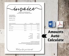 Invoice template, Photography invoice, Business invoice, Receipt ...