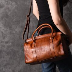 Distress leather bag women's leather shoulder bag by OrisDesigns