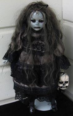 Ooak Gothic Creepy Horror Reborn Art Doll 'Scary Demon Girl & Skull' By L Ganci