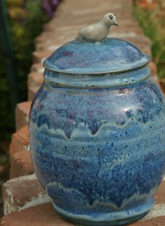 Blue Biscotti Jar with Gray Dove Knob  handthrown by muddywaterscc, $45.00