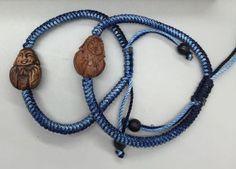 Jennifer Stock Jewelry Hand Carved Wooden Buddha Charm Slip Bracelet - Denim