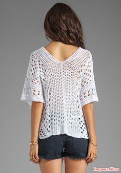 Летний белый пуловер крючком - Вязание - Страна Мам