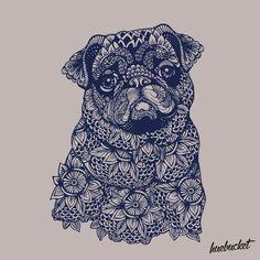 Mandala of Pug by huebucket Mops Tattoo, Pug Tattoo, Pug Art, Black Pug, Pug Puppies, Funny Puppies, Pug Love, Illustration, Cute Animals