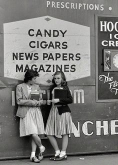 May 1942. Southington, Connecticut. Girls at drugstore. early 40s era found photo print bobby socks shoes wedge sandals skirt sweater jacket hair