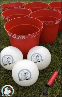 630f49631ed Giant beer pong with buckets and volley balls