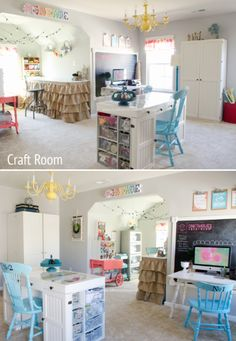 Take a tour of the most amazing Dream Craft Room! Loads of storage and organization ideas. A MUST SEE space that will make every crafter drool! Room Tour, Craft Rooms, Craft Organization, Anonymous, Craft Supplies, Tours, Storage, Bed, Crafts