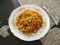 Cuscús con pollo al curry Exotic Food, Fried Rice, Risotto, Tapas, Pasta, Appetizers, Menu, Vegetarian, Healthy Recipes