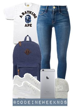 """""""7:21:15"""" by codeineweeknds ❤ liked on Polyvore featuring Herschel, Frame Denim, NIKE and Y-3"""