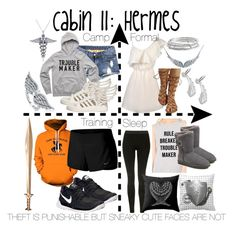 Cabin 11: Hermes by aquatic-angel on Polyvore featuring polyvore, fashion, style, NIKE, Topshop, UGG, adidas, BERRICLE, Kate Spade, Sterling Essentials, Allurez and clothing