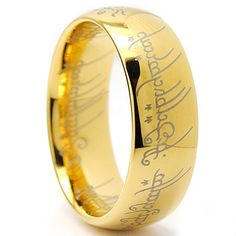 @Overstock - Laser-etched Elvish script ringGoldplated tungsten carbide jewelryClick here for ring sizing guidehttp://www.overstock.com/Jewelry-Watches/Goldplated-Tungsten-Carbide-Unisex-Laser-etched-Elvish-Script-Ring/7631073/product.html?CID=214117 $26.77