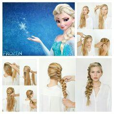 Elsa Braid :) so cute Frozen Hairstyles, Disney Princess Hairstyles, Headband Hairstyles, Braided Hairstyles, Cool Hairstyles, Elsa Hairstyle, Hairdos, Frozen Hair Tutorial, Frozen Braid