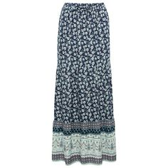 M&Co Petite Floral Border Print Maxi Skirt (€21) ❤ liked on Polyvore featuring skirts, navy, petite, floral print skirt, blue skirt, long evening skirts, tiered maxi skirt and long skirts