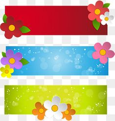 Colorful flowers spring banners vector material