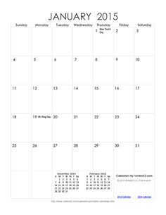 Download a free Printable Monthly 2015 Calendar from Vertex42.com