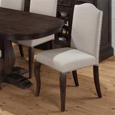 2 Grand Transitional Terrace Ivory Wood Fabric Upholstered Side Chairs