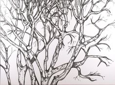 Winter Tree . Original Pen Drawing . Pointillism Art . by blueskybeads on etsy