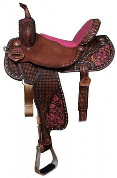 Pozzi Pro Barrel Racer by Double J Saddlery. Brown vintage with a pink ostrich seat & fuchsia hi-lites on corner details. When I was young I drove my dad crazy for a barrel racer saddle :)! Barrel Racing Saddles, Barrel Saddle, Horse Saddles, Western Horse Tack, Cowgirl And Horse, Western Saddles, Western Riding, Horse Gear, Horse Tips