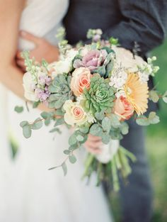 Bridal bouquet: succulent, gerbera, gerber daisy, kale. Simply Beautiful!