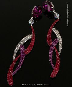 Custom earrings for Miss Vermont USA 2011 in Light Siam, Fuschia  Crystal AB  Made with Swarovski Elements