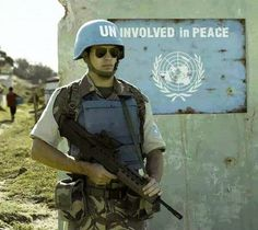 United Nations humor, political satire, funny, peace, war, combat zone, Iraq, Afghanistan, Libya, peacekeeper, blue helmet, Army, Marine, military