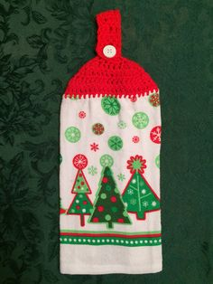 Crocheted Top Dish Towel - Cookie Cutter Christmas Tree by HandMadeInMadison on Etsy